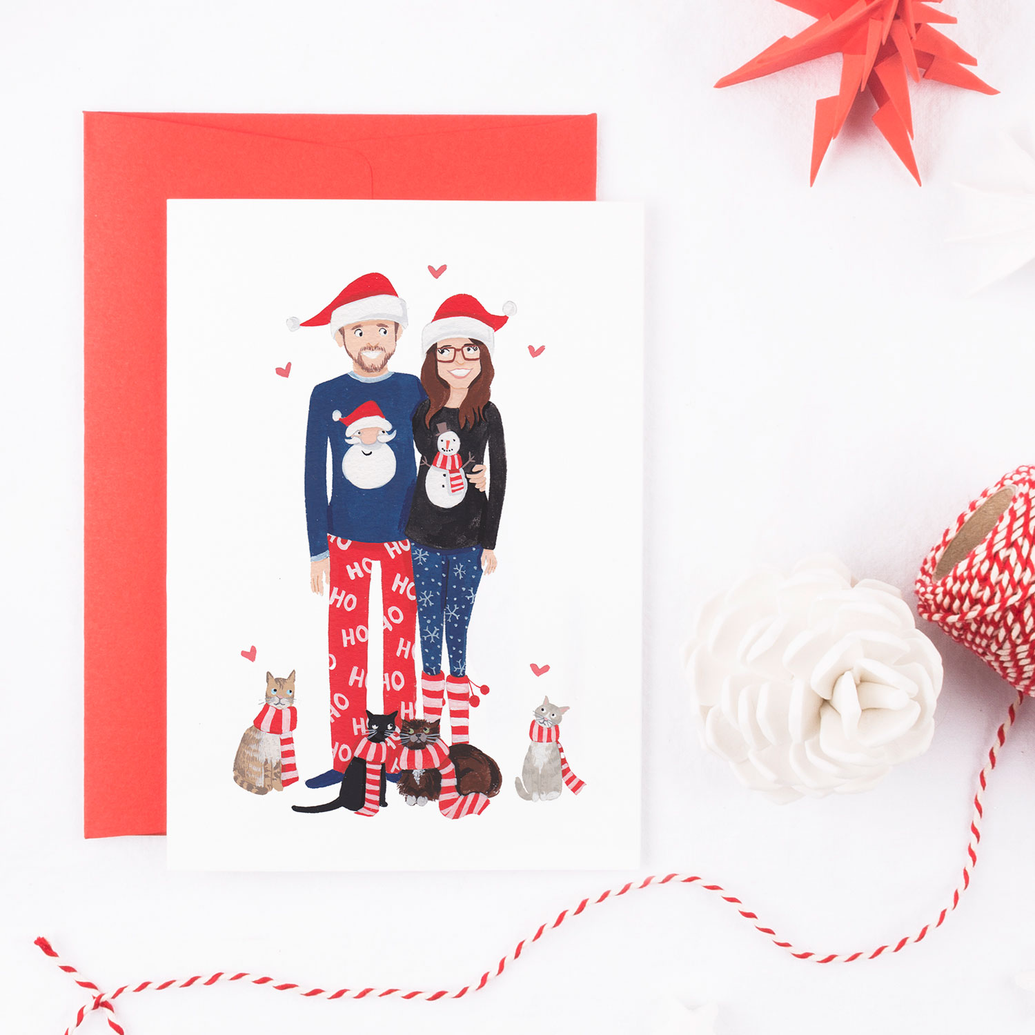 personalised family portrait christmas cards