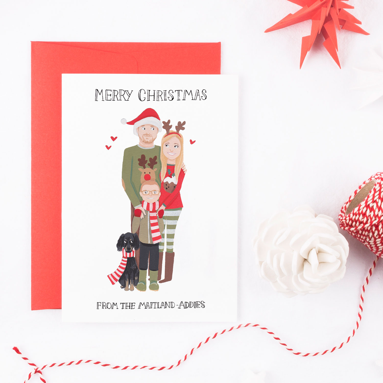 personalised family portrait christmas cards greetings from sarah