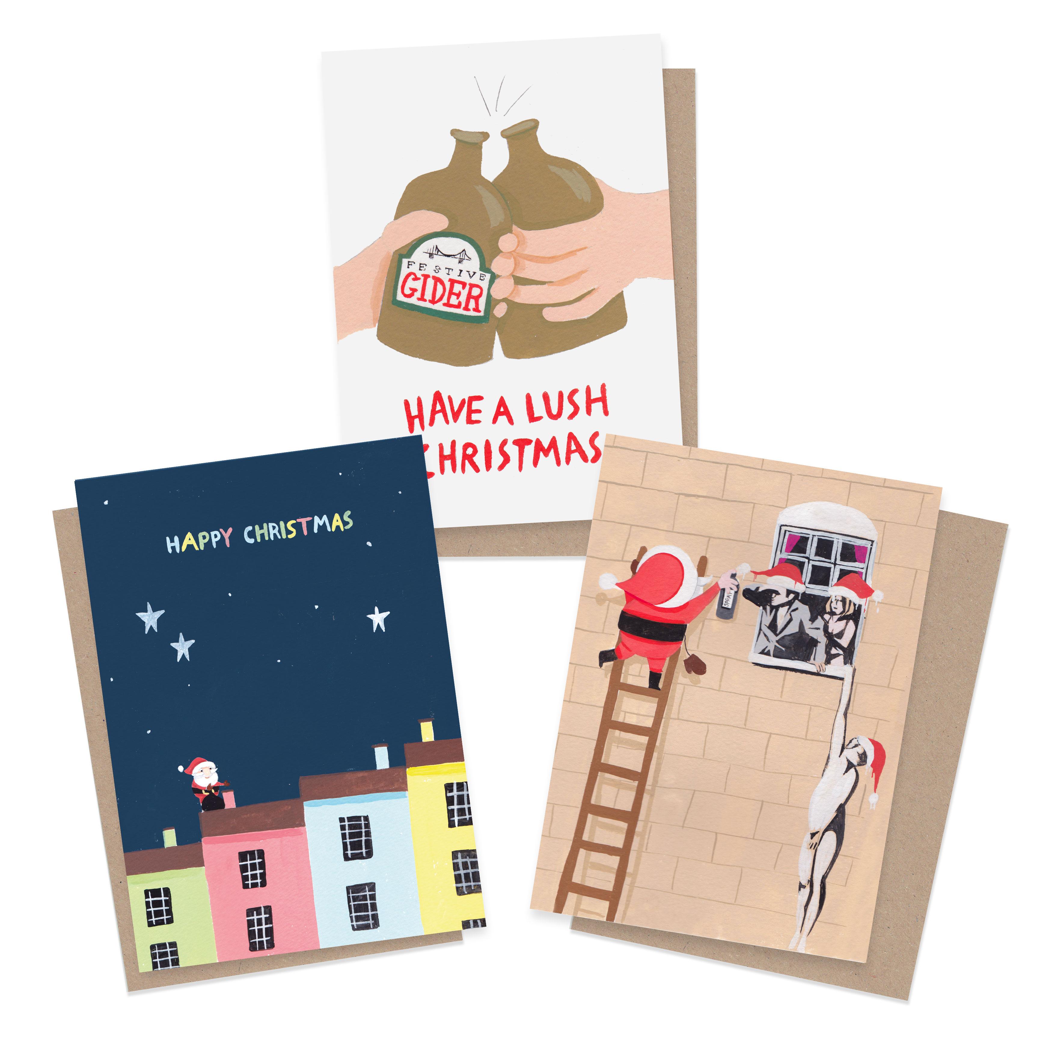 Christmas Trees Bristol: Bristol Christmas Card Bundle (3 Or 6 Pack)