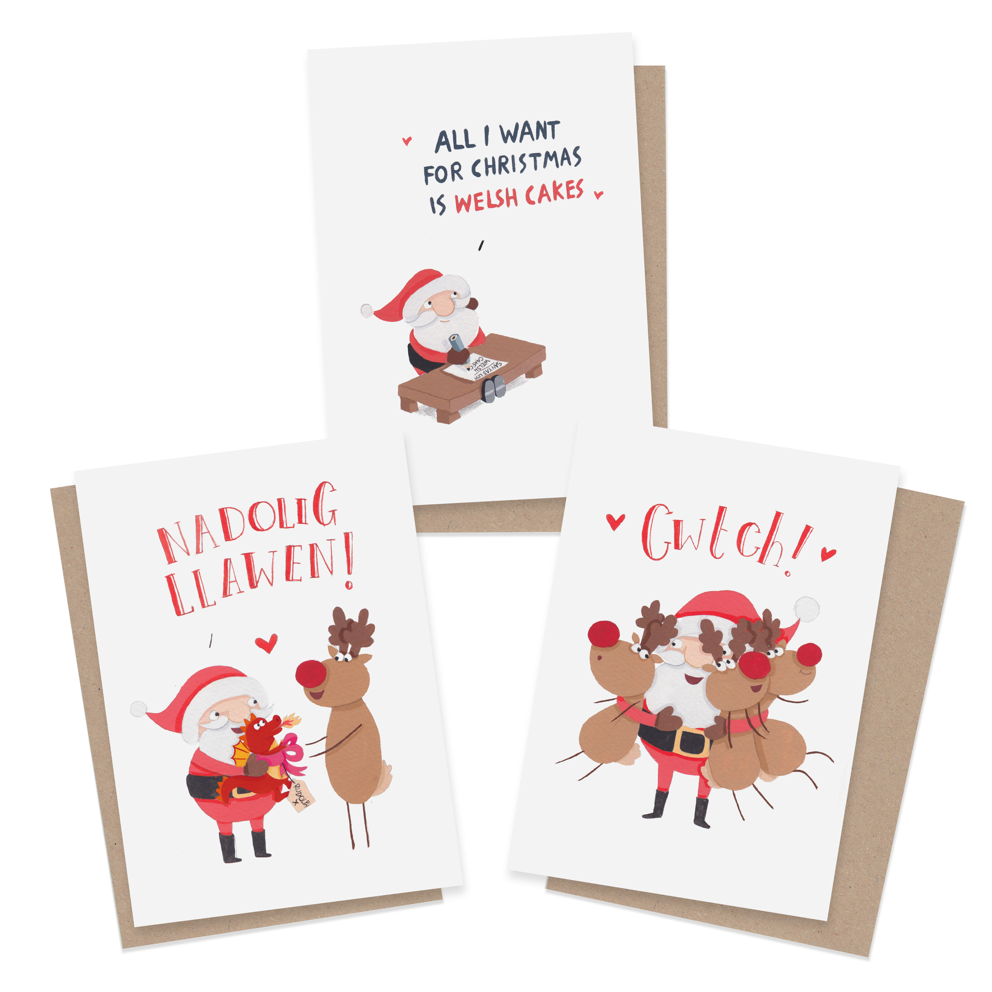 Welsh christmas card bundle 3 or 6 pack greetings from sarah welsh christmas card kristyandbryce Image collections